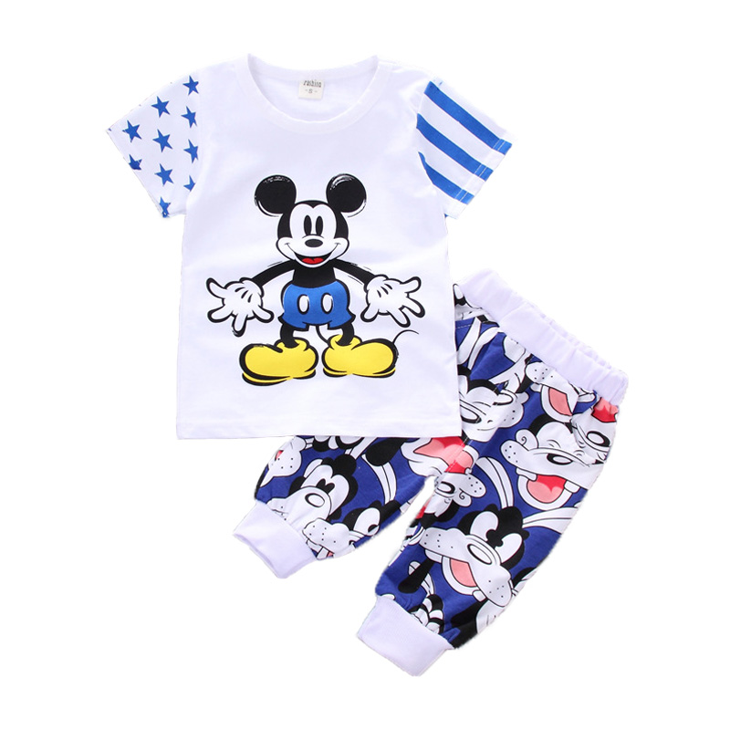 Children boys summer season garments Ladies Clothes Units 2019 New Mickey Mouse boys prime T-shirt Shorts 2 pcs garments Set Children Garments Sport Clothes Units, Low-cost Clothes Units, Children...
