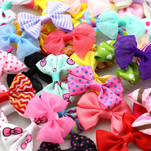 "10Pcs 2""baby girls Ribbon bows Candy Dot Print Snow yarn Multi Styles Bow Hairpin newborn Hair Clips children hair accessories"