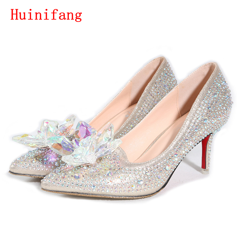 HuiNiFang New Hot Silver/Gold Rhinestones Wedding Shoes High Heels Slip ON Cinderella Crystal Shoes Pointed Toe Women Pumps