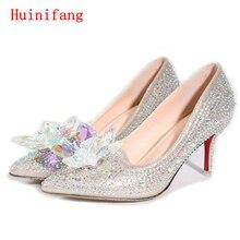 Neue Heiße Silber/Gold Strass Frauen Hochzeit Schuhe High Heels Slip AUF Cinderella Kristall Schuhe Spitz Frauen Pumpt TS