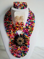 New Season 2016 Multicolours Nigerian Wedding African Beads Jewelry Sets Crystal Flower Necklace For Women BJN