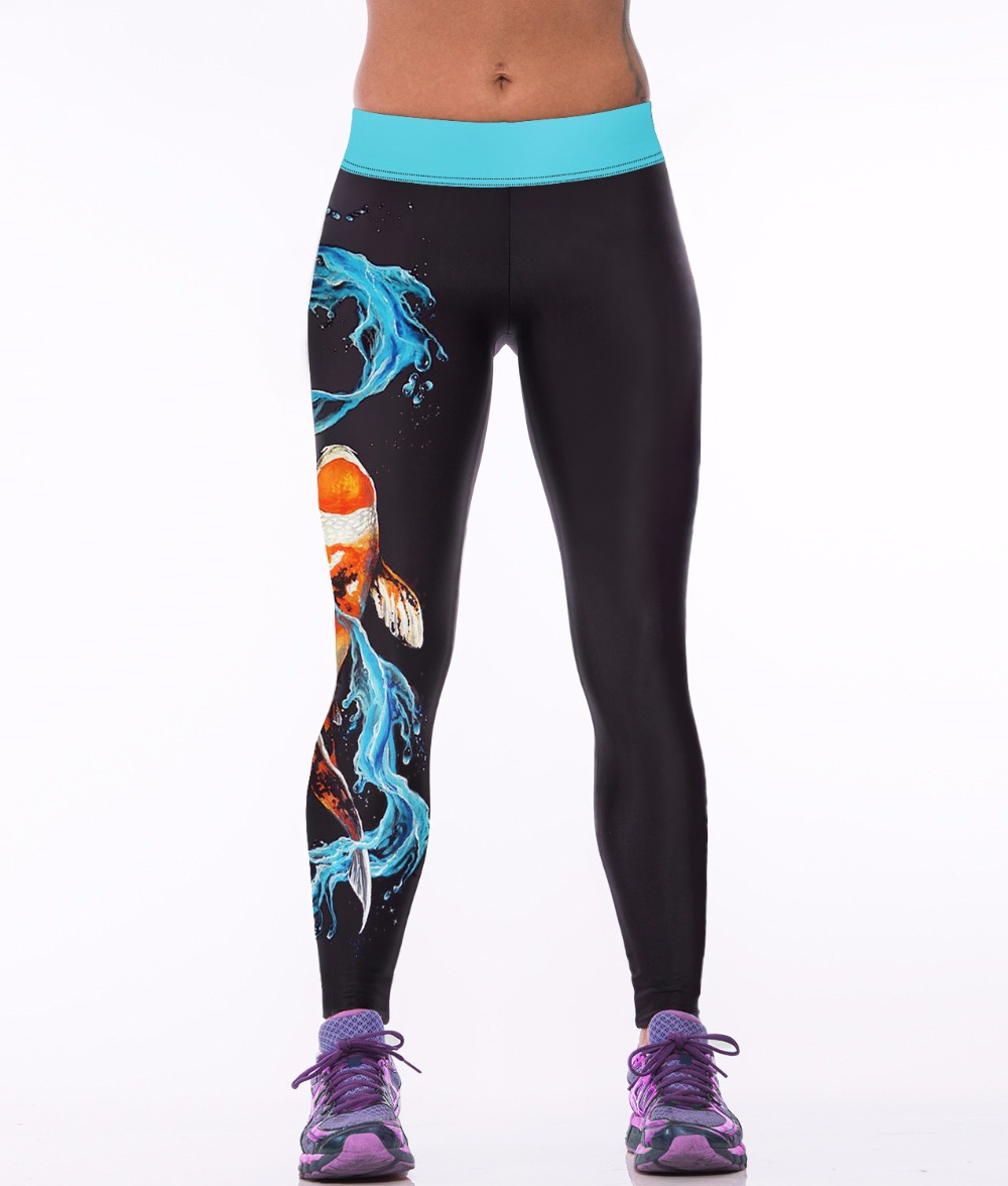 c5c1f14e14 NEW 0017 Sexy Girl Women KOL Fancy Carp Fish 3D Prints High Waist Running  Fitness Sport