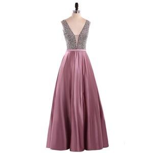 Image 3 - Menoqo V Neck Beads Bodice Open Back A Line Long Evening Dress Party Elegant Vestido De Festa Fast Shipping Prom Gowns
