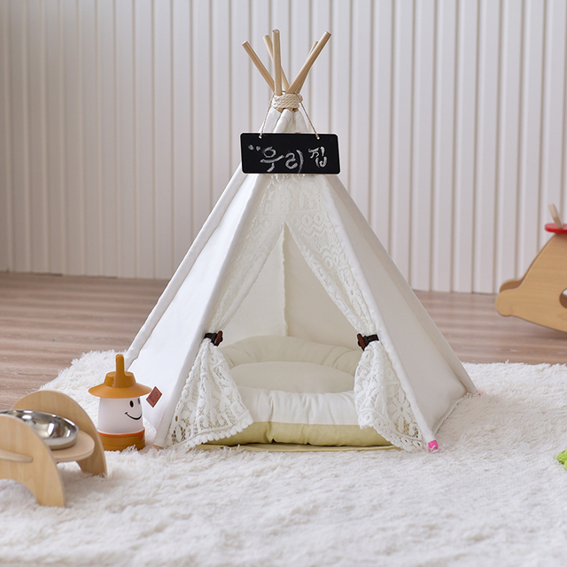 acheter pliant portable pet lit chien chenil chien chat maison bois dentelle pet. Black Bedroom Furniture Sets. Home Design Ideas