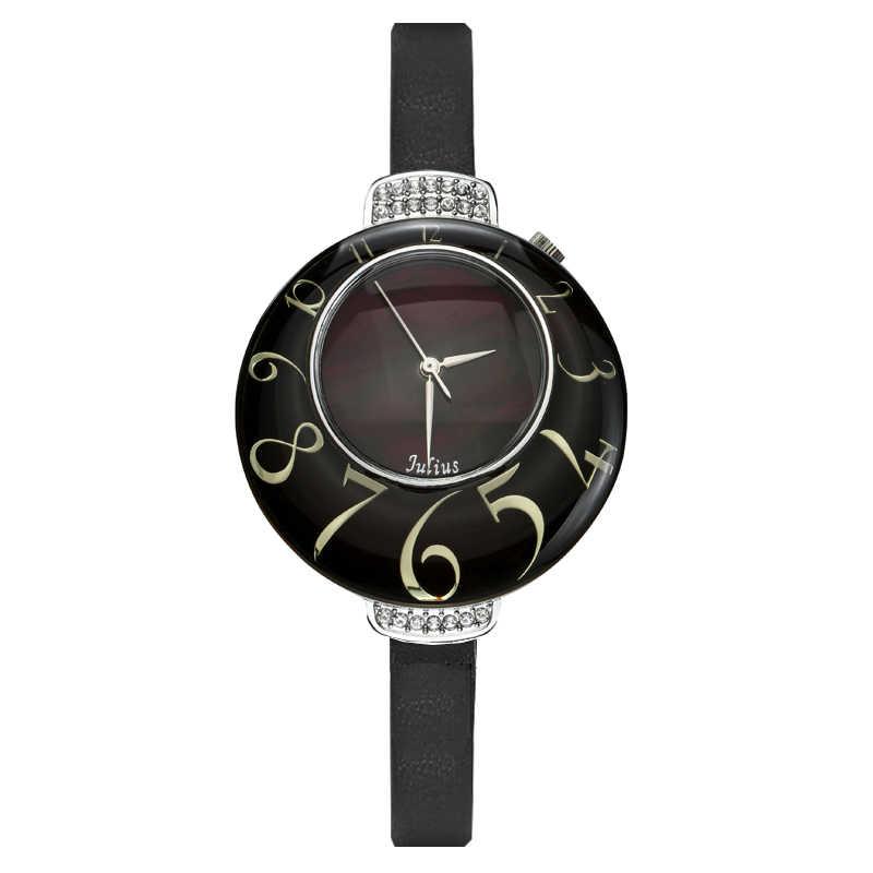 Женские кварцевые часы Julius MIYOTA с жемчугом, большие часы, модные часы, кожаный браслет, подарок на день рождения для девочек