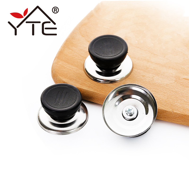 Kitchen Appliance Knob Cover Glass Kitchen Pot Lid Top 5 mm Handle Hole Handle Stainless Steel+Plastic Knob For Cooking Tools