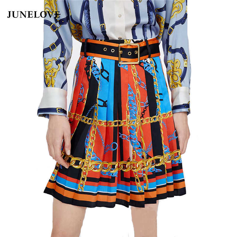 8647c377d25 Detail Feedback Questions about JuneLove Women Spring Chain Print Mini  Skirts Vintage Sashes Female A Line Skirts Casual Sexy Split Ladies Pleated  Skirts ...