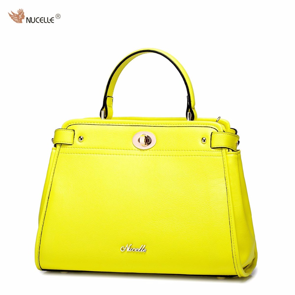 NUCELLE Brand Design Fashion Candy Colors Lock Cow Leather Women Girls Ladies Handbag Shoulder Bag Peekaboo Bags nucelle brand design vintage luxury leopard with horse coat cow leather women ladies handbag shoulder crossbody flap bags
