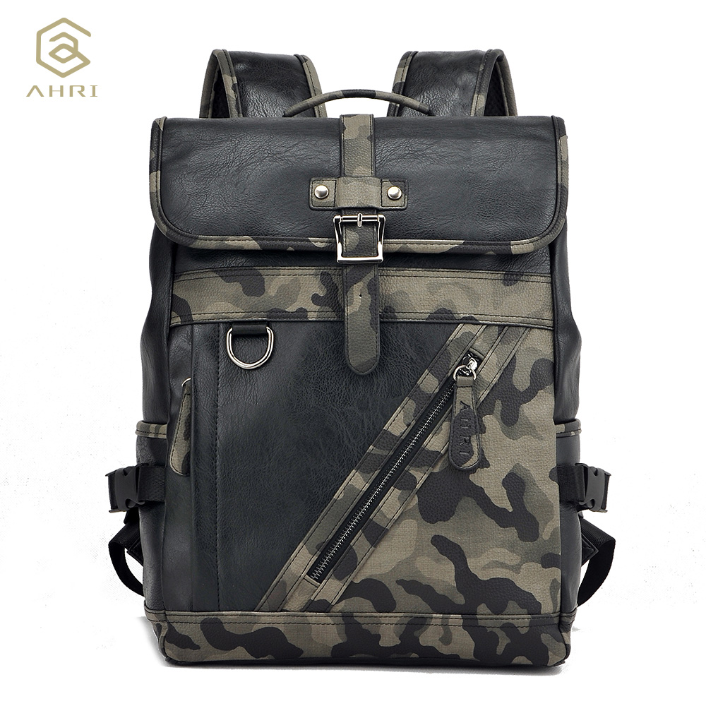 ФОТО AHRI Factory outlet Fashion Vintage Backpacks for Men Business Casual School Backpack PU Leather Men's Camouflage Shoulder Bags