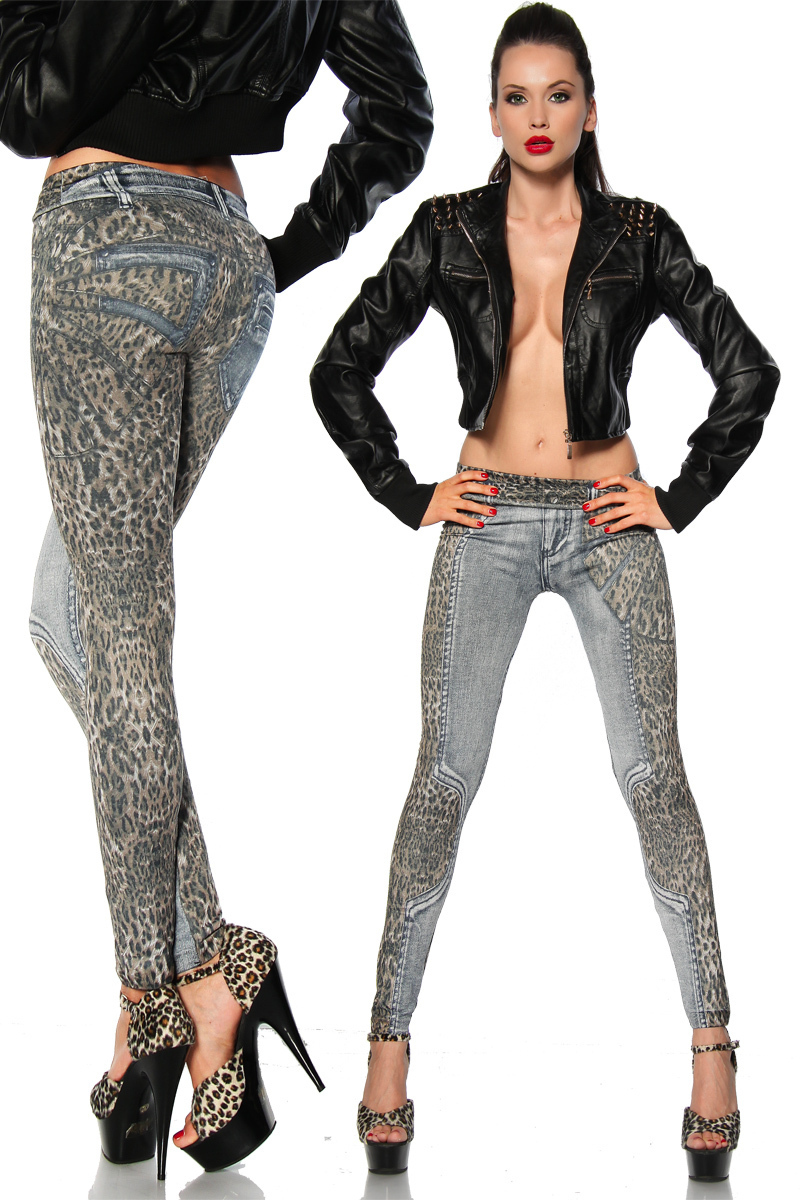 New Sexy Leopard Print Denim Jeans Look Sexy Leggings -8324
