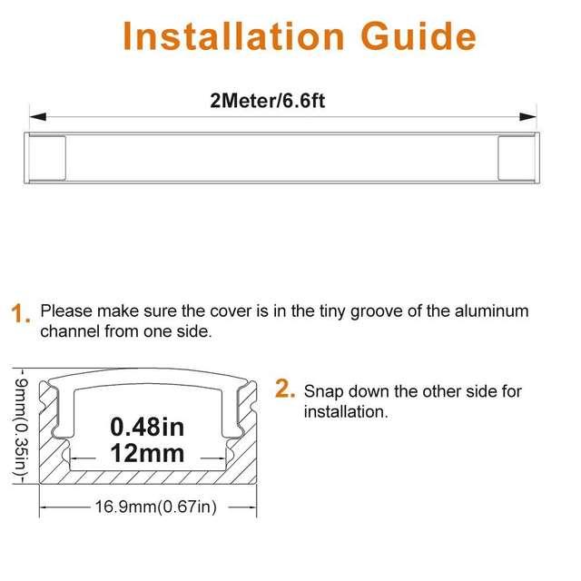 6 6ft/2M 20 Pack(131ft/40M) 9x17mm Black U Shape LED Aluminum Channel  Internal with Cover End Cap Clips for LED Strip-U02B2M20