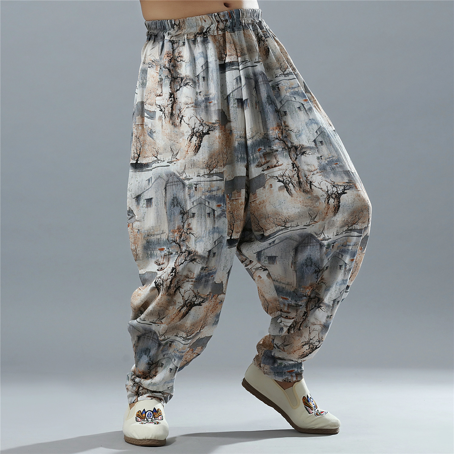 Male High Quality Cotton Linen Printing Wide Leg Harem Pants Men's Loose Casual Pants China Style Jogger Trousers Sweatpants