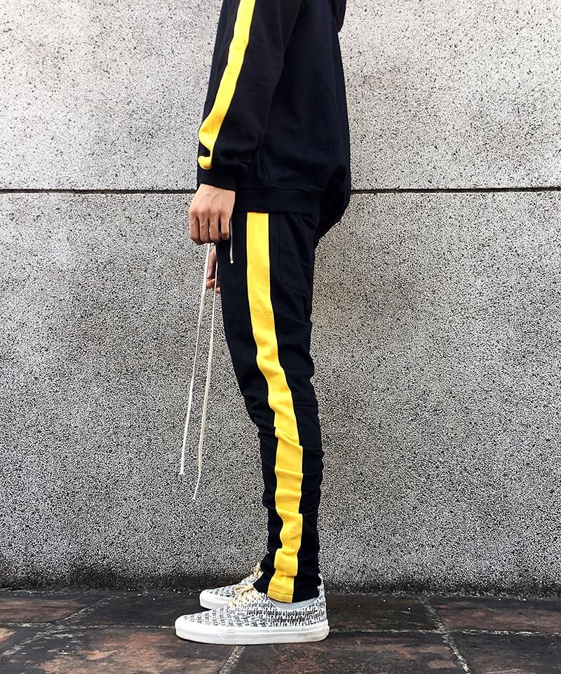 Side Yellow Stripe Men Casual Track Pant 2018 Yellow Splice Stripes Mens Sweatpants Joggers Hip Hop Pocket Side Zipper Trousers