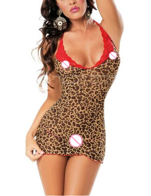 Sexy Leopard red LACE minidress Babydoll Lingerie Chemises Underwear Translucent costumes Nightgown Catsuit+G-string  6282