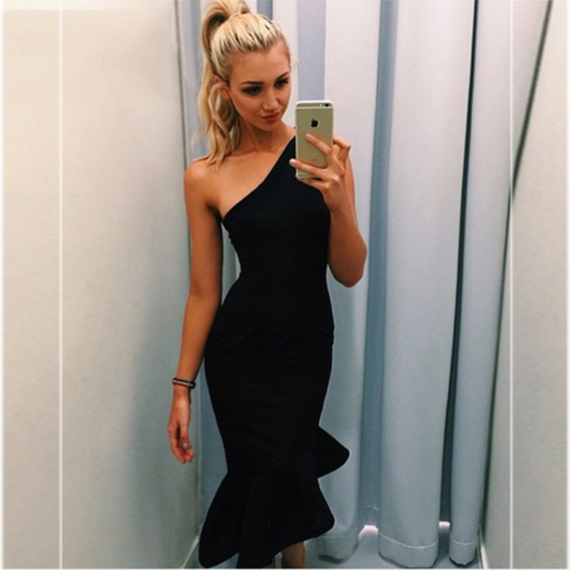 HIGH QUALITY Newest Fashion 2018 Designer Dress Women s One Shoulder Mermaid Bodycon Bandage Dress