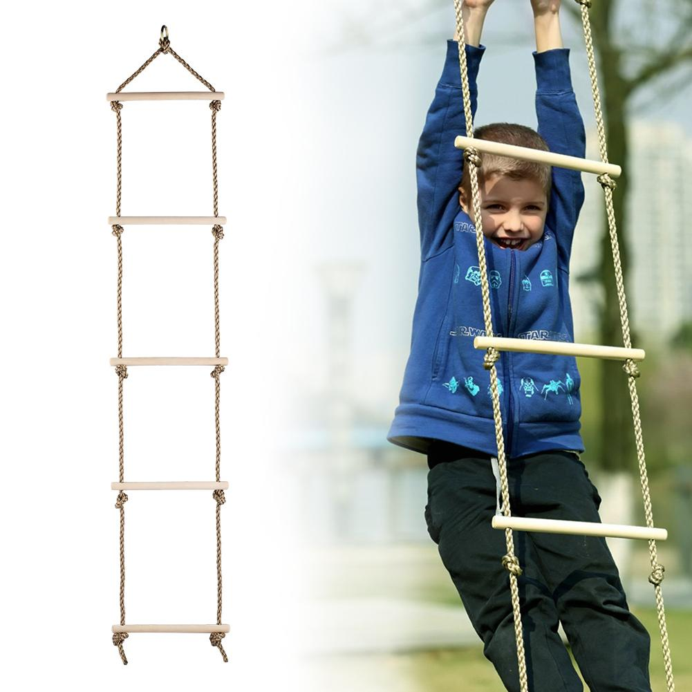 Kids Climbing Rope Ladder Swing Indoor And Outdoor 5 Rungs Climb Hang Ladder For Kids Garden Game Outdoor Sports Toys children toy swing outdoor indoor wood ladder rope playground games for kids climbing rope swing wooden 5 rungs pe rope