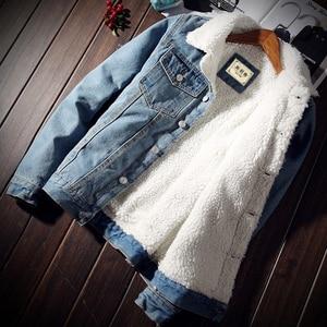Image 2 - Idopy męska kurtka dżinsowa z futrzanym podszewką gruby, ciepły płaszcz z polaru Jean odzież wierzchnia dla mężczyzn