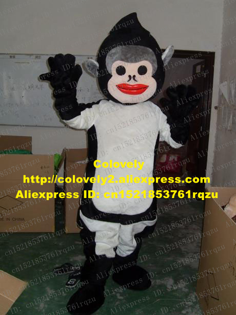 Beautiful Intelligent Black Monkey Mascot Costume Cartoon Character Mascotte Adult Smiling Face White Vest Little Arms Short Legs No.9597 Low Price Costumes & Accessories Mascot
