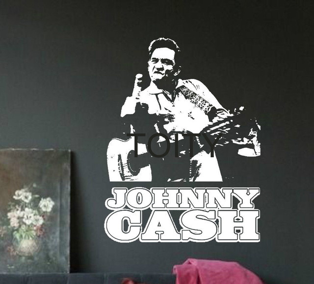 Hervorragend Decalque De Vinil Adesivo De Parede Americano Cantor E Guitarrista Johnny  Cash Retro Decoração Estúdio Bar
