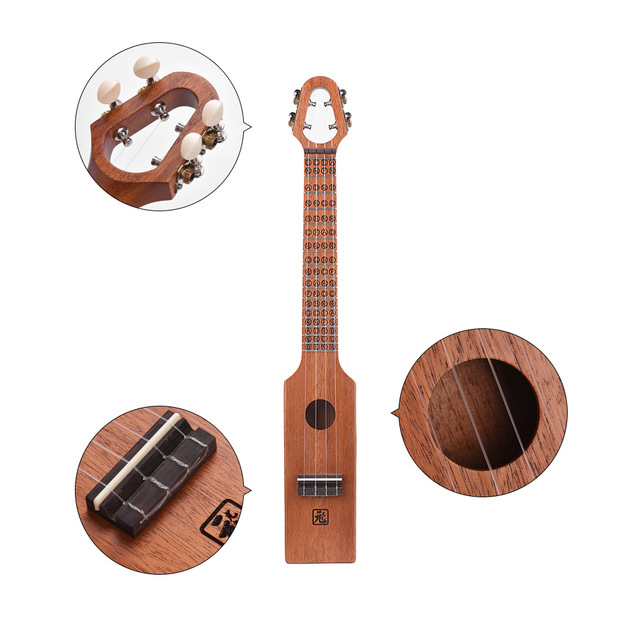 Carved Compact Acoustic Ukulele with Bag