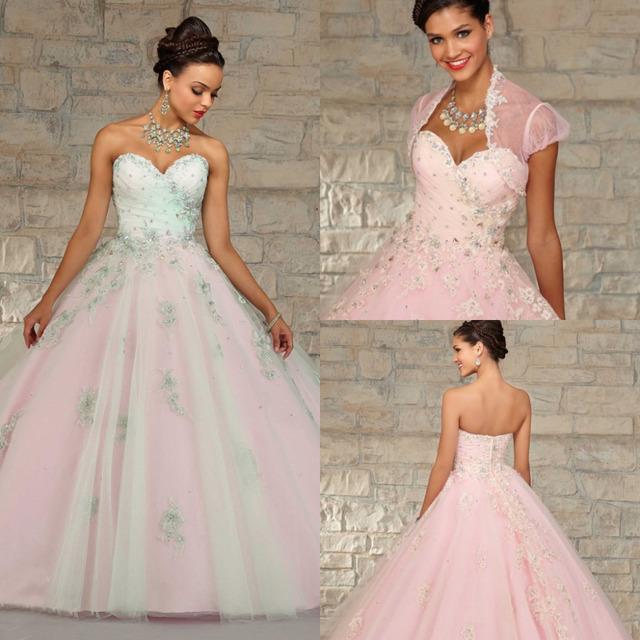 Light Pink Sweet 16 Vestidos de Quinceañera Vestidos Rebordear Vestidos De Quinceañeras 2015 Con Bordado Y Chaqueta