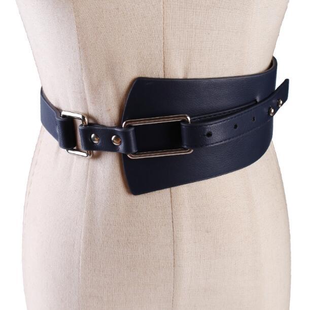 Women's Runway Fashion PU Leather Cummerbunds Female Dress Coat Corsets Waistband Belts Decoration Wide Belt R1109