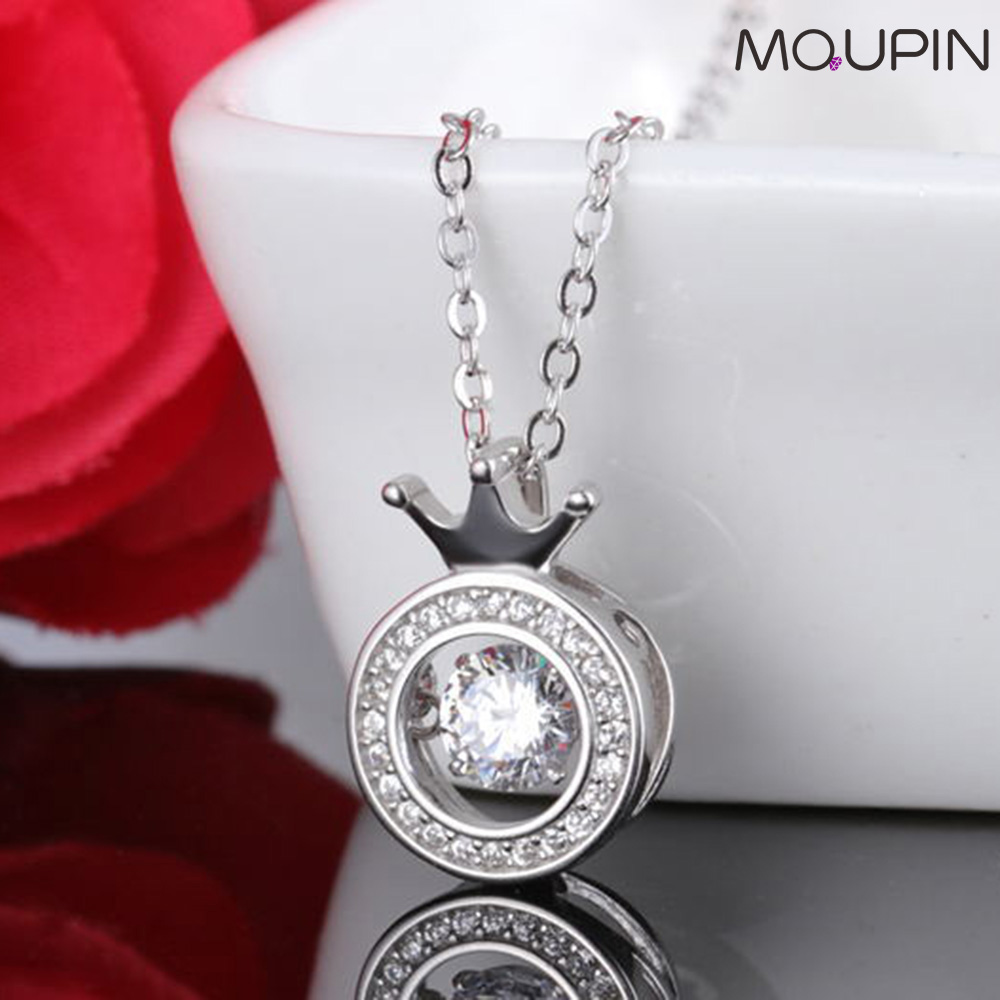 MQUPIN S925 Sterling Silver Necklace Female Crown Pendant Beating Flash Girlfriend Birthday Tanabata Romantic Valentin Gift