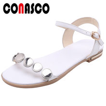 CONASCO Women New Classic Sandals Genuine Leather Low Heels Round Metal Casual Shoes Buckle Low Heel Sandals Summer Shoes Woman(China)