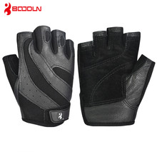Pigskin Mens Gym Gloves Bodybuilding Crossfit Fitness Sports Dumbbell Barbell Weight Lifting Sport Gloves for Horizontal Bar cheap Boodun Weight Lifting Glove JS013 S M L XL XXL black fitness gym crossfit fingerless CrossFit gloves Half finger Genuine leather pigskin