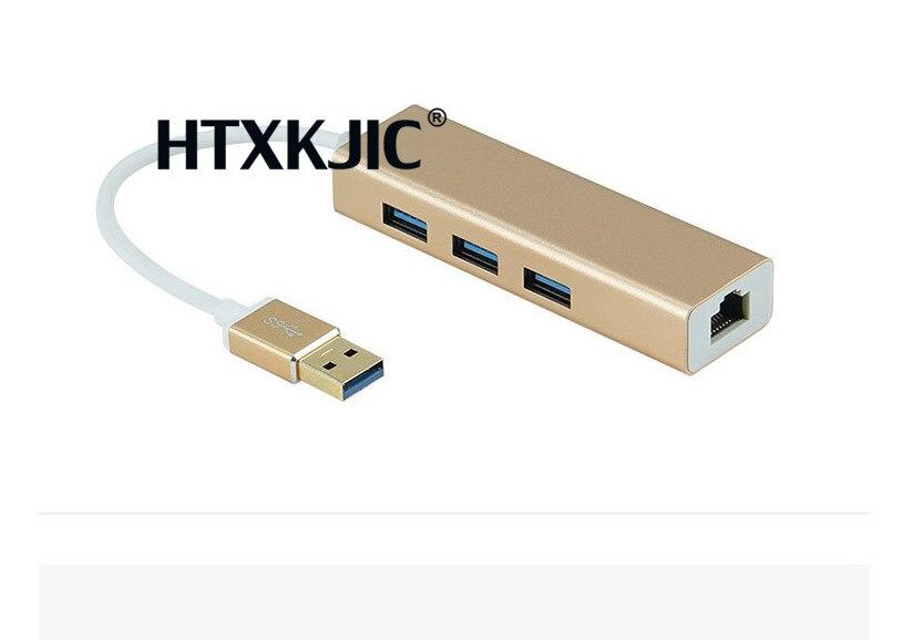 High Speed 3 Ports USB 3.0 Hub 10/100/1000 Mbps To RJ45 Gigabit Ethernet LAN Wired Network Adapter Converter For Windows Mac