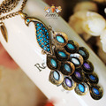 European Blue Gem Peacock Long Chain Necklace Delicate Feather Design Retro Sweater Chain Necklaces & Pendants For Women