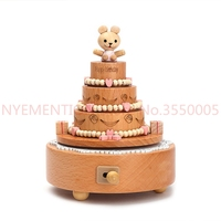 Carousel Musical Boxes Wooden Music Box Wood Crafts Retro Birthday Gift Vintage Home Decoration Accessories 20pcs