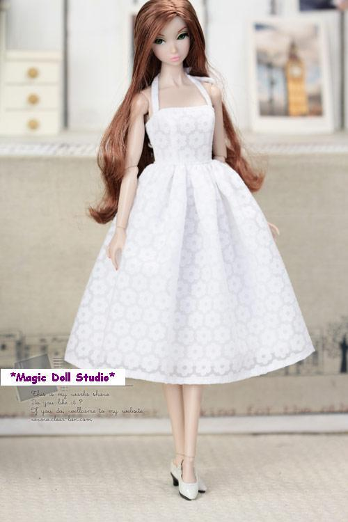 Fr047free Shipping 12 Inch Fashion Doll Dress White Flower Pattern