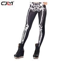 CJLM Kız Spor Tayt 2017 Sıcak Satış 3D İskelet Kemik Baskılı Siyah Leggins Seksi Yaratıcı Moda Popüler Kalem Pantolon