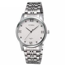Fashion Men Roman Number Round Dial Rhinestone Inlaid Quartz Analog Wrist Watch Stainless Steel band digital watch цена и фото