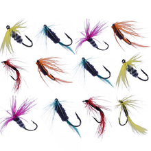 12Pcs/Sets  Fishing Lures Tackle Bait Set Artificial Insect Trout Fly Hooks