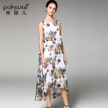 POKWAI Elegant Long Vintage Floral Summer Silk Dress Women 2017 Brand Quality Womens Clothing Short SleeveRuffle
