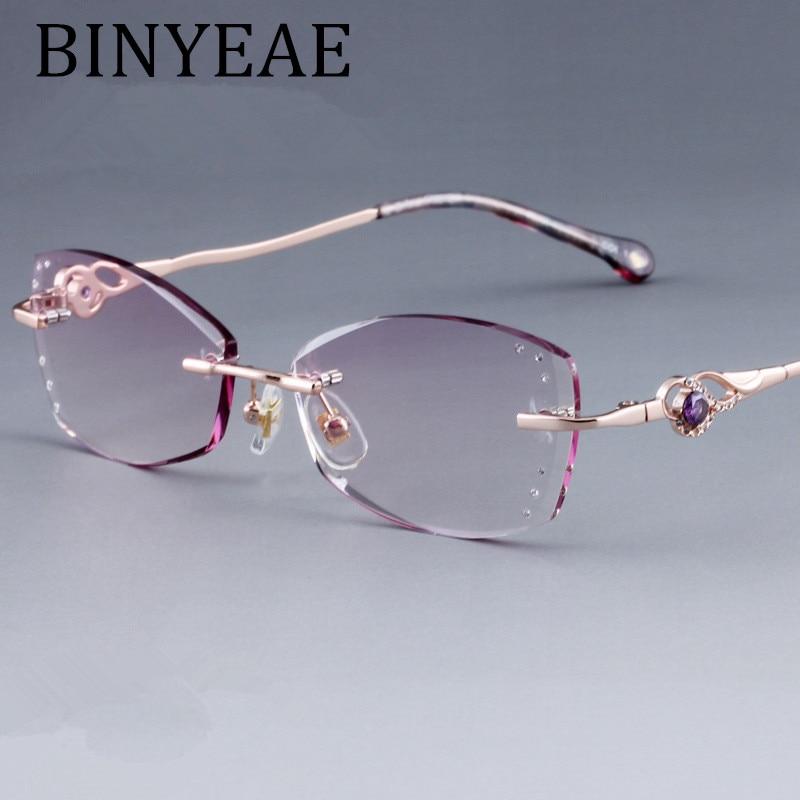 BINYEAE Brand Women Diamond Trimmed Tint Lenses Glasses Frame Prescription Spectacles for Female Fashion Colored Stones Lenses
