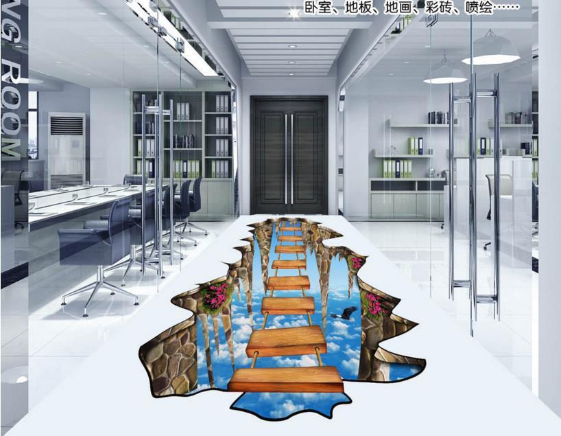 ФОТО Customized 3d murals floor living room wallpaper bridge 3d floor non-slip self-adhesive waterproof pvc 3d photo wallpaper floor