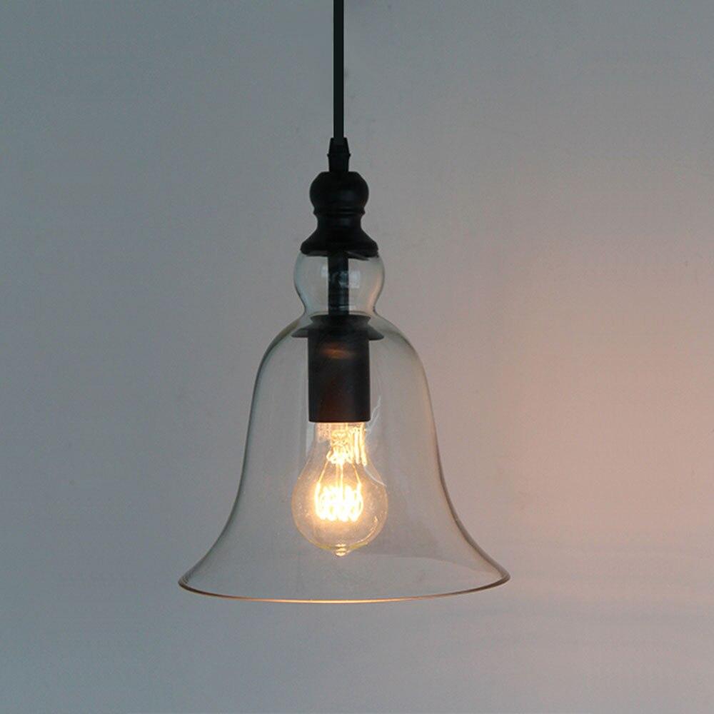AC100-240V Clear Bell Glass Lampshade Pendant Light Household Hanging Lamp Fixture Novelty Modern Bell lamps lamparas loft lamp  bowl lens tube pendant lamp clear pressed glass light modern suspension lighting glass shade hanging lamps glass lampshade