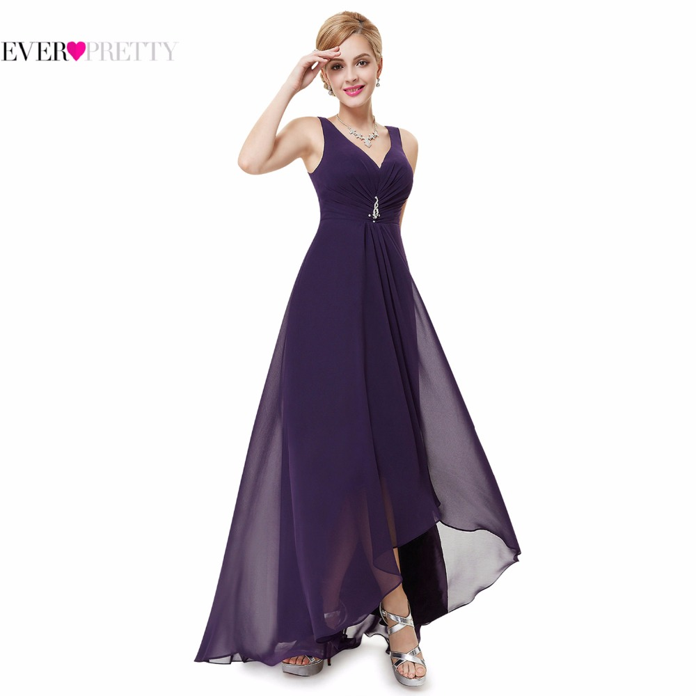 HE09983BK Ever Pretty 2014 New Arrival Double V Neck Rhinestones Ruched Bust High Low Formal Evening