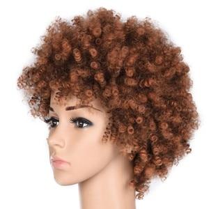 Image 2 - Feilimei Sintetico Ombre Riccio crespo Parrucche Per Le Donne di Colore Nero Naturale Marrone Breve Afro Falso Dei Capelli Resistente Al Calore Parrucca Femminile