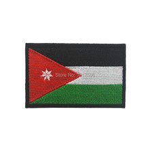 Jordanian National Flag Embroidery Patch Jordan Embroidered Patches Military Tactical Armband Fabric Sticker Sewing Applique(China)