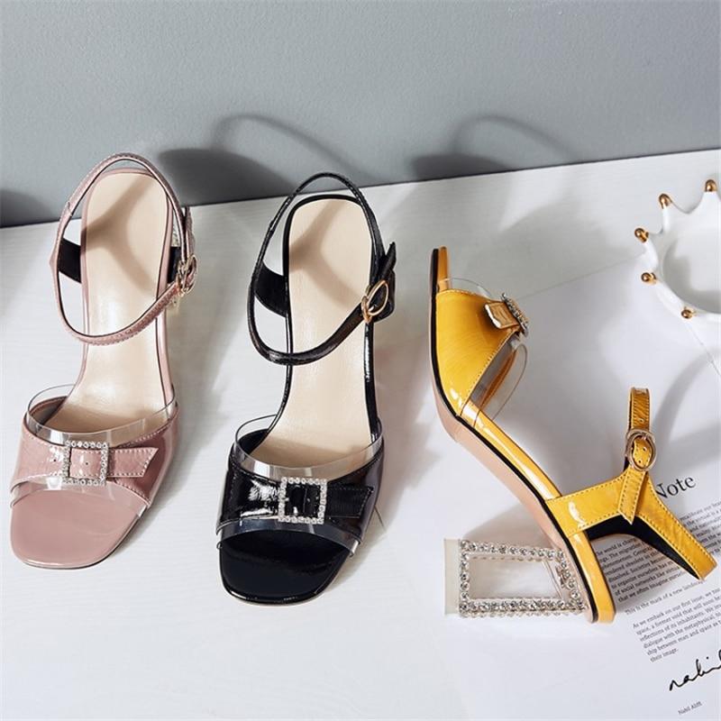 MSSTOR Crystal Transparent Heels Elegant Peep Toe Buckle Summer Strap Sandals Mixed Color Yellow Sandals High Heels Sandals