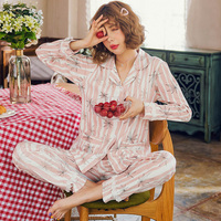 Women Pajamas Pure Cotton Sleepwear Pijama Mujer Homewear Pyjama Female Maple Leaf Print Sweet Cute Home Clothing Sleep Lounge