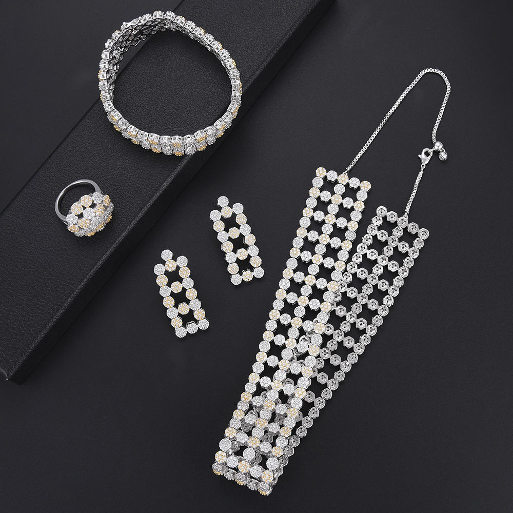 Luxury Geometric Hollow Cubic Zirconia Wide surface Adjustable Necklace Earrings Bracelet Ring Bridal jewelry set For Women