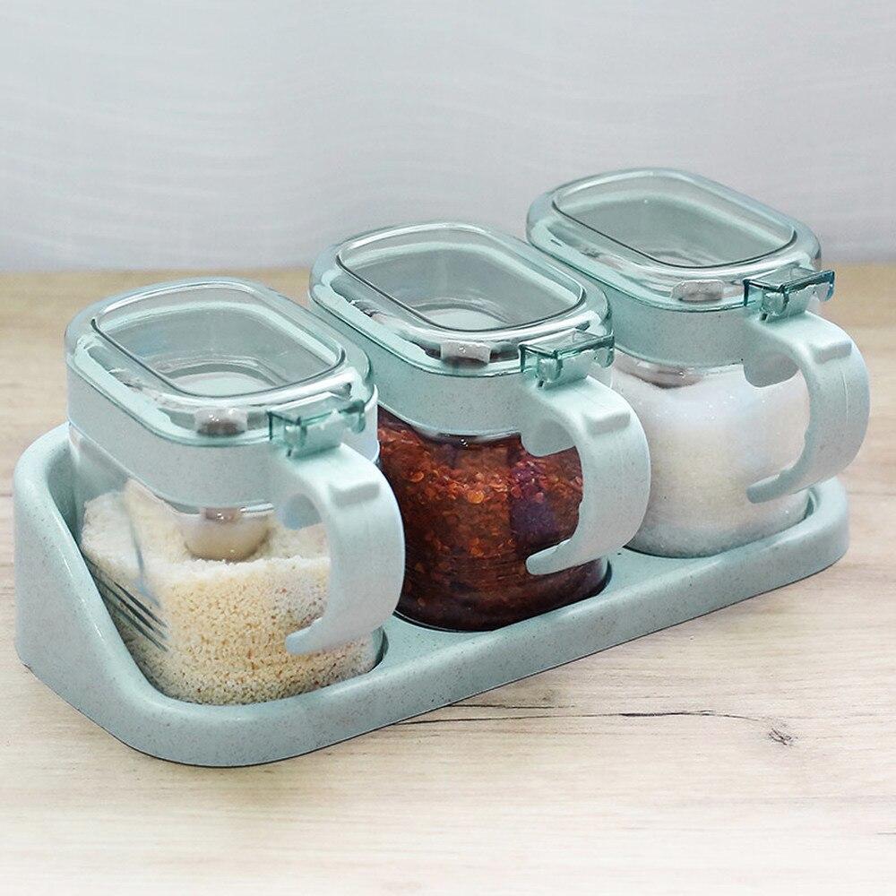 US $21.99  Spice box set household kitchen supplies glass seasoning jar set  seasoning bottle salt cans sugar bowl wx9081738-in Storage Bottles & Jars  ...