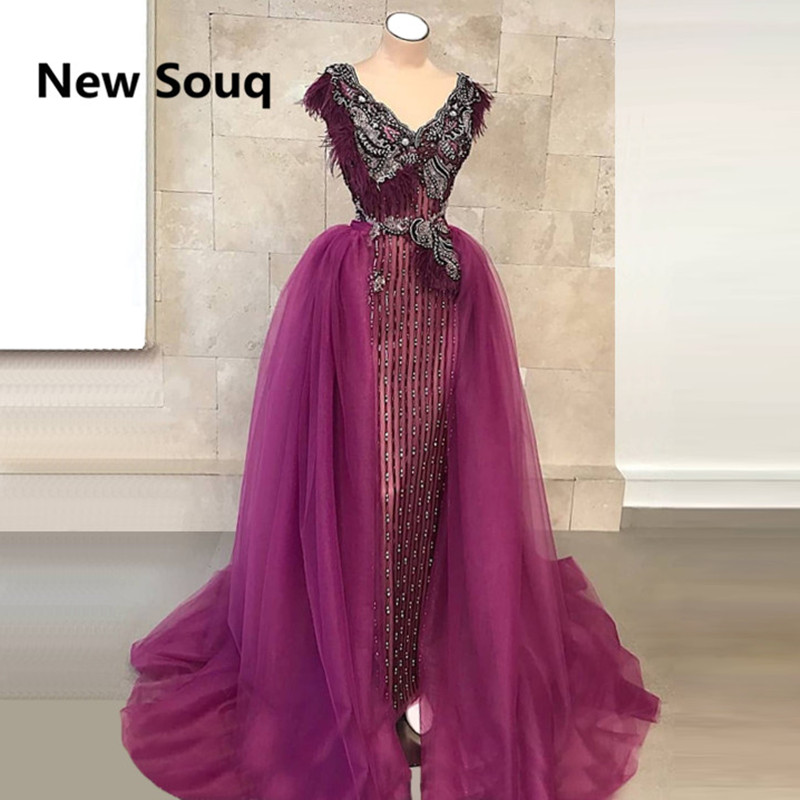 Luxury Beading Mermaid Evening Dresses with Detachable Skirt V-neck Sleeveless Saudi Arabic Middle East Prom Dress With Feather