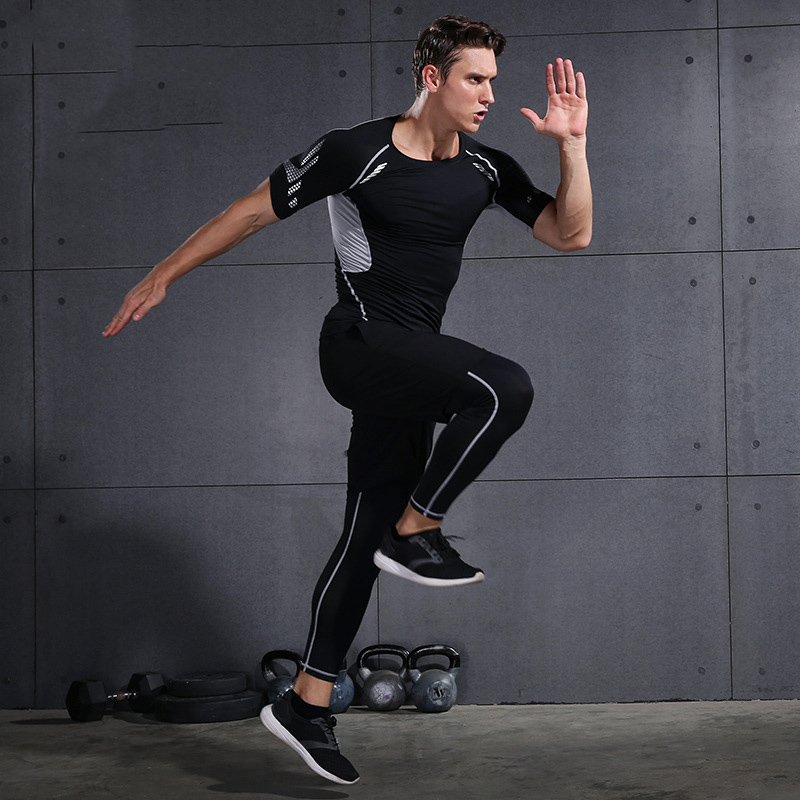 2019 Gym Running Sets Men's Fitness Compression Tights Sportswear Stretchy Training Sports Clothes Jogging Suits 3pcs - 4