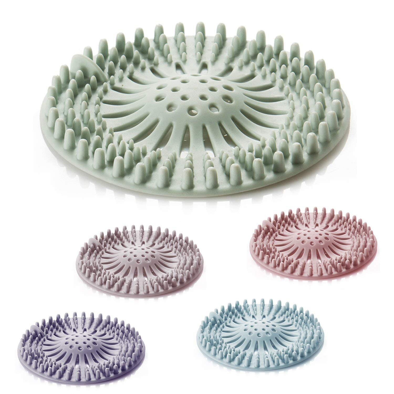 5 Pack Hair Catcher Hair Stopper Shower Drain Covers For Bathroom Bathtub And Kitchen - Rubber Sink Strainer Silicone Filter H